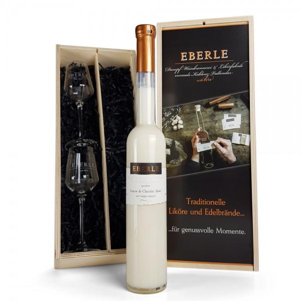 Liqueur de Chocolat blanc 0,35 L in der Holzkiste